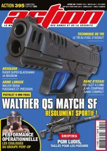 Couverture Action 395 Septembre octobre 2020 : BANC D'ESSAI : Walther Q5 Match SF  FORMATION : Performance opérationnelle : Les coulisses du groupe PERF-OP  FUSIL DE PRÉCISION : PGM Ludis : taillée pour les podiums !